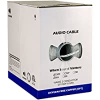 Audio Cable, 16AWG, 2 Conductor, 65 Strand, 500 ft, PVC Jacket, Pull Box, White