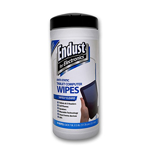 Anti Static Screen Cleaner - Endust for Electronics Touchscreen cleaning wipes, Great tablet wipes, 70 count (12596)