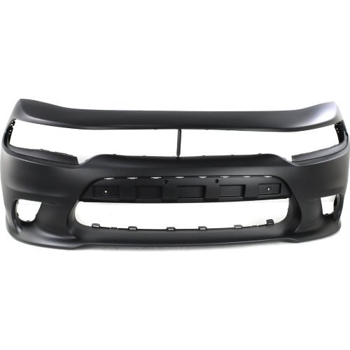 Front Bumper Cover Compatible with DODGE CHARGER 2015-2017 Primed with Hood Scoop with Elliptical Fog Light Hole