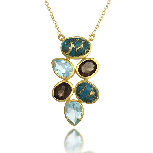 18K Gold-Plated Blue Stone, Reconstructed Turquoise & Smoky Quartz Stone Pendant Necklace 18-19 inch ()