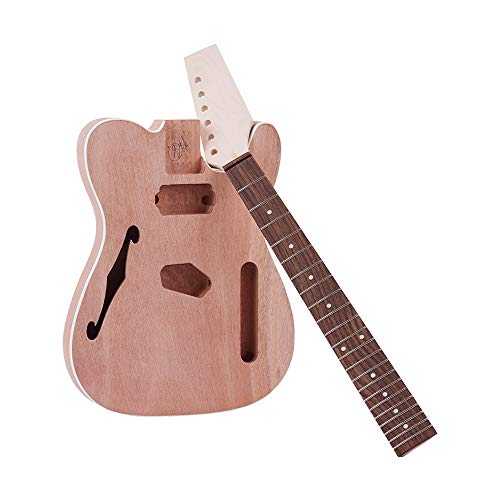 - Muslady TL Electric Guitar Unfinished Kit DIY Tele Style Mahogany Body with F Soundhole Maple Wood Neck Rosewood Fingerboard