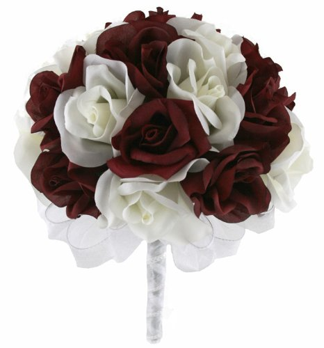 [Burgundy and Ivory Silk Rose Hand Tie (2 Dozen Roses) - Bridal Wedding Bouquet] (Burgundy Bridal Bouquet)