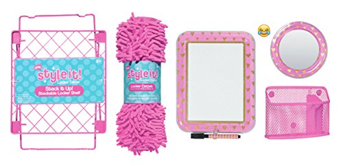 School Locker Organizer Kit - Accessories and Decoration Set with Mirror, Message Board, Bin, Rug and Shelf (Pink)