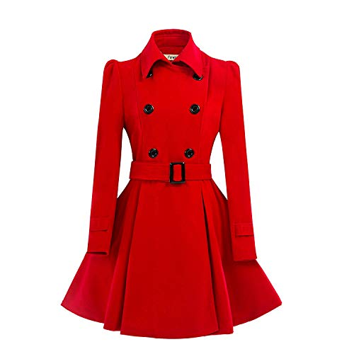 ForeMode Women Swing Double Breasted Wool Pea Coat with Belt Buckle Spring Mid-Long Long Sleeve Lapel Dresses Outwear(Red3,Medium)