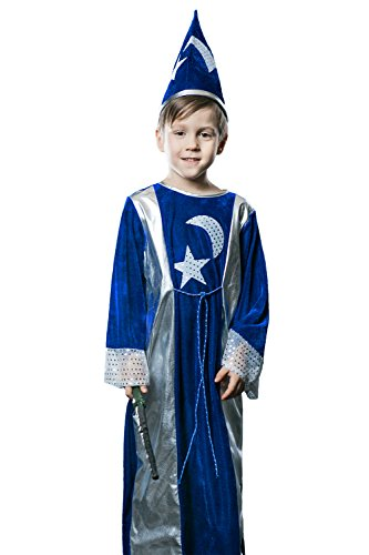 Kids Unisex Magician Halloween Costume Wizard Astrologer Dress Up & Role Play (3-6 years, blue, ()