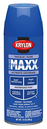 Krylon K09144000 COVERMAXX Spray Paint, Gloss True Blue, 12 Ounce