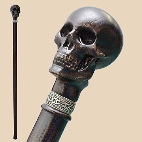 Fancy Carved Walking Cane for Men - Skull - Stylish Wooden Men's Knob Canes and Walking Sticks Fashionable