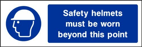 hiusan Safety Helmets Must Be Worn Sign Plastic Funny Novelty Self Adhesive Vinyl Sticker Label Decal Sign Warning Safety Sign Stickers 20x6.6 cm