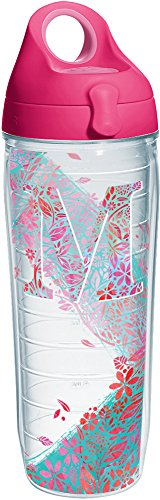 Tervis 1240129 INITIAL-M Botanical Insulated Tumbler with Wrap and Passion Pink Lid 24oz Water Bottle Clear
