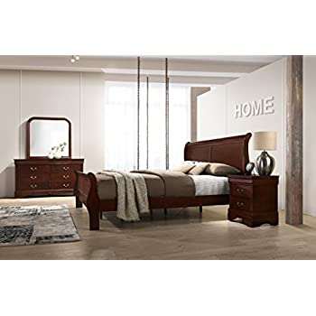 Roundhill Furniture Isola Louis Philippe Style Sleigh Bedroom Set King Bed Dresser