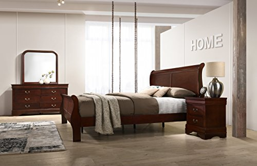 Roundhill Furniture Isola Louis Philippe Style Sleigh Bedroom Set, Queen Bed, Dresser, Mirror and Night Stand, Cherry Finish (Bedroom Sets Queen Furniture)