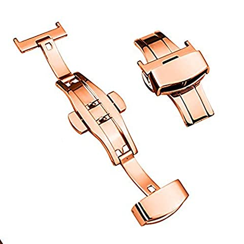TON CHARME Stainless Steel Butterfly Deployment Buckle Double Push Button 12/14/16/18/20/22/24mm (18mm, Rose - Stainless Steel Butterfly Deployment Clasp