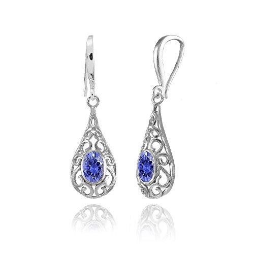(Sterling Silver Tanzanite 6x4mm Oval Filigree Teardrop Dangle Earrings)