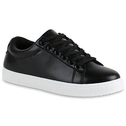 fdf7a7a25231 Stiefelparadies Damen Sneaker Low Glitzer Metallic Schuhe Gesteppte Sneakers  Turnschuhe Denim Sportschuhe Schnürer Lack Flats Schnürschuhe