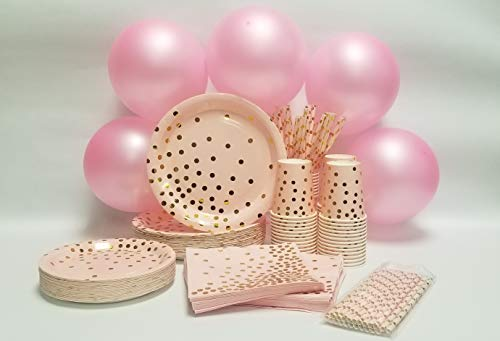 Pink and Gold Party Supplies 260 Pcs, 100 Disposable Plates for Party, 50 Paper Napkins Bulk, 50 Paper Straws, 50 Paper…