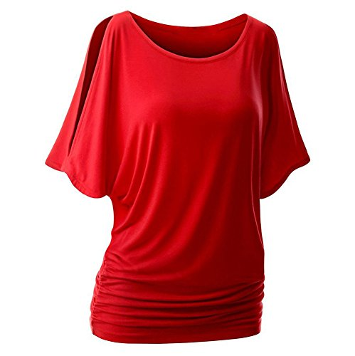 T Tops Rouge Shirt Hors Manches Sexy Shirt T Femmes paule Casual souris t Extensible Solide Courtes iBaste Chauve aTHw7H