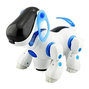 biggroup Interactive Blue Robotic Electronic Walking Pet Dog Puppy Kids Children Toy With Music Light