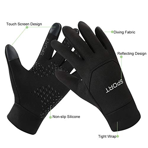 Keegud Winter Gloves for Cycling Running Walking Riding Non-Slip Working Touch Screen Gloves for Men and Women Waterproof