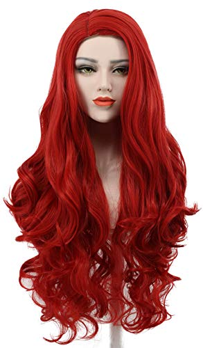 Karlery Women's Long Wave Red Hair Halloween Cosplay Wig Anime Costume Party Wig]()