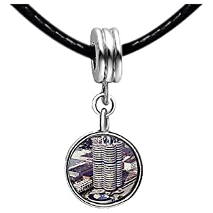 Chicforest Silver Plated Travel BMW building Munich Germany Photo Light Amethyst Crystal June Birthstone Flower dangle Charm Beads Fits Pandora Charm