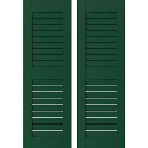 "Ekena Millwork RWL15X067CGP Exterior Real Wood Pine Open Louvered Shutters (Per Pair), Chrome Green, 15""W x 67""H"