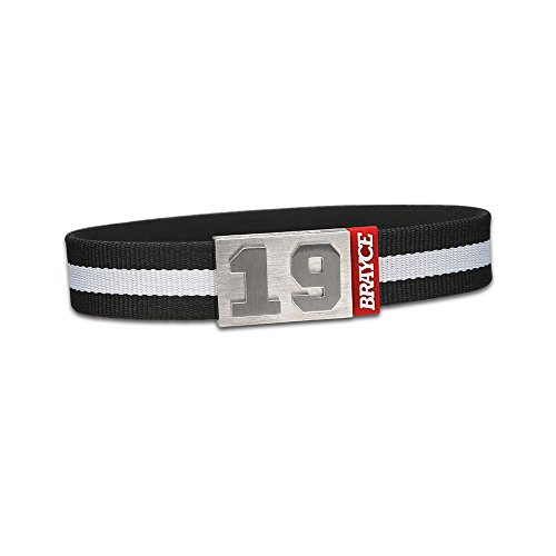 "fan products of BRAYCE Team Colors: Customize your jersey bracelet white/black with your player number (0-99) 7 sizes (6,3"" – 8,7""): Hockey, Baseball, Basketball & Football"