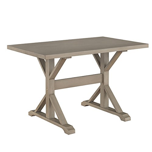 Florence Round Dining Table - Carolina Chair & Table T4830-WG Florence 30 x 48 Trestle Table, Weathered Gray