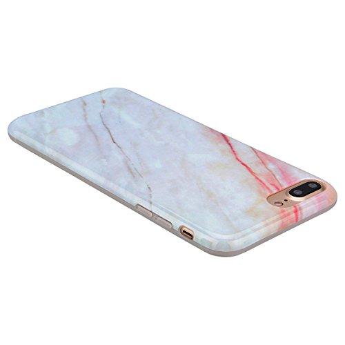 GrandEver iPhone 7 Plus Weiche Silikon Hülle Marmor Handy hülle Rot und Weiß Marble Malerei Schlank TPU Bumper HandyTasche Case Muster Flexible Ultra Slim Schutzhülle Zurück Linien Soft Back Cover Sil
