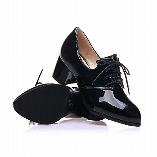 Charme Voet Dames Mode Dikke Hak Veter Oxford Schoenen Zwart