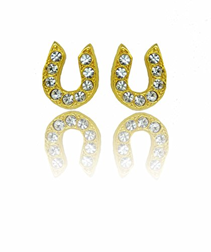 Finishing Touch Horse Jewelry Horseshoe Stone Earrings 14kt Gold Electroplate