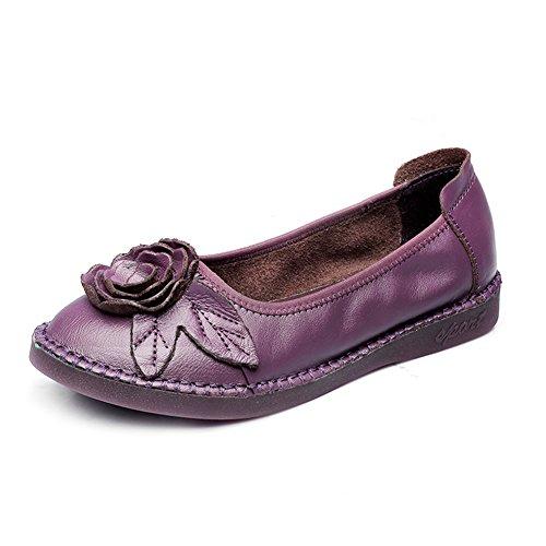 Btrada Kvinna Blomma Halka På Loafers Skor Rund Tå Tillfälliga Driv Mockasiner Flat Ballet Båt Skor Lila