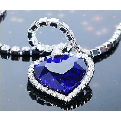 niceeshop(TM) Heart Shaped Alloy Rhinestone Crystal Chain Pendant Necklace,Blue]()