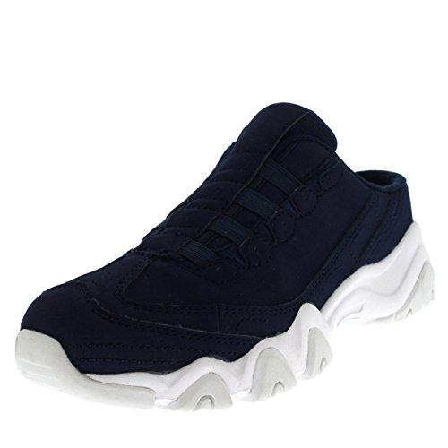 Get Fit Womens Slip On Sports Trainer Mule Shock Absorbing Flat Walking Trainers Navy/White Zkmq09PTC