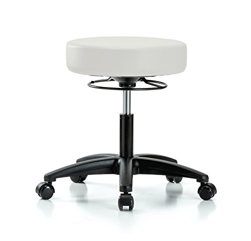 PERCH 360 Degree Rolling Height Adjustable Massage Therapy Swivel Stool for Carpet or Linoleum | Desk Height | 300-Pound Weight Capacity | 12 Year Warranty (Adobe White Vinyl)
