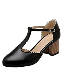 TAOFFEN Women Retro Block High Heel Mary Jane Buckle T-Strap Pumps Shoes