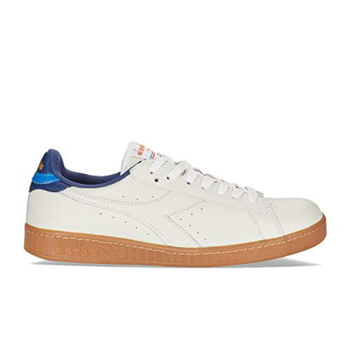 Diadora Men's Game L Low Gymnastics Shoes, Bianco C5866 - WHITE-NAVY SALTIRE