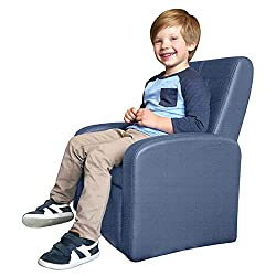 STASH Folding Kids Sofa Chair with Built in Storage Modern Childrens Ottoman Cube Living Room playroom Lounge Organizer Comfy Home Couch Sitting Play Furniture Armchair for Girls Boys (Blue)