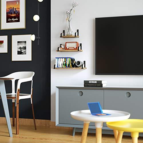 Love-KANKEI Floating Shelves Wall Mounted Set of 3, Rustic Wood Wall Storage Shelves for Bedroom, Living Room, Bathroom… 3