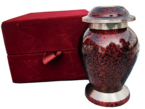 Beautiful Shade of Mini Keepsake – Keepsake Urn – Token Urns -Forever in Our Hearts Classic Keepsake Urns Keepsake Cremation Urns Handcrafted Affordable Mini Urn for Ashes with Velvet Bag RED