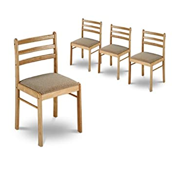 Amazon.com: 4 sillas de comedor de madera maciza con ...