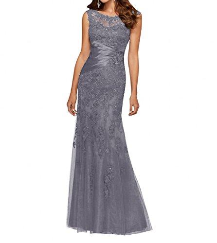 Navy Charmant Grau Damen Brautmutterkleider Ballkleider Kleider Abendkleider Langes Spitze Festliche Blau Etuikleider 54S14q
