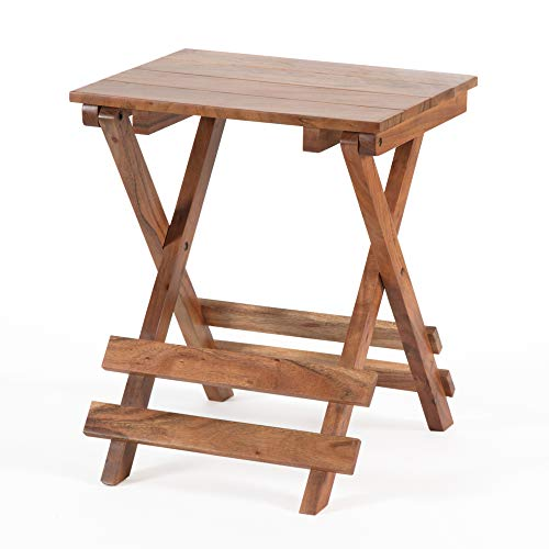 Madeleine Home Vienne Adirondack Foldable Side Table | Pure Acacia Wood End Table for Living Room, Bedroom, Porch, Patio | Signature Style Handcrafted Folding Wooden End Table