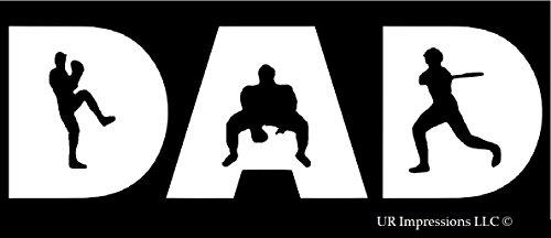UR Impressions Baseball Dad - Pitcher Catcher Batter Decal Vinyl Sticker Graphics for Cars Trucks SUV Vans Walls Windows Laptop|White|7.5 X 3.5 inch|URI308