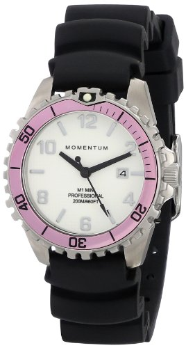 Women's Quartz Watch | M1 Mini by Momentum | Stainless Steel Watches for Women | Dive Watch with Japanese Movement & Analog Display | Water Resistant ladies watch with Date - White / Pink Rubber by Momentum