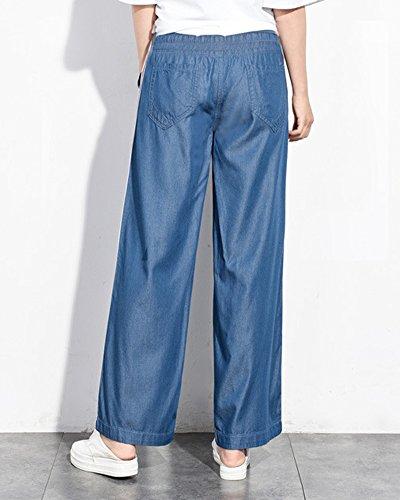 Raya Azul para Acampanado ZhuiKunA Pantalones Pantalones Largos Marino Vaqueros Mujer UqWaU1nX8