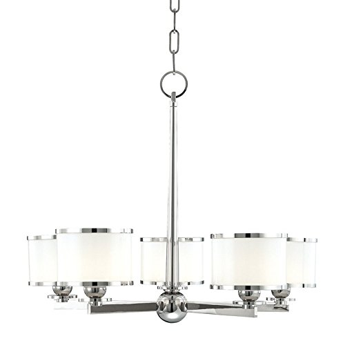 Hudson Valley 6115-PN, Basking Ridge Glass Chandelier Lighting, 5 Light, 375 Watts Xenon, Nickel - Hudson Valley Lighting Bronze Ceiling Fan