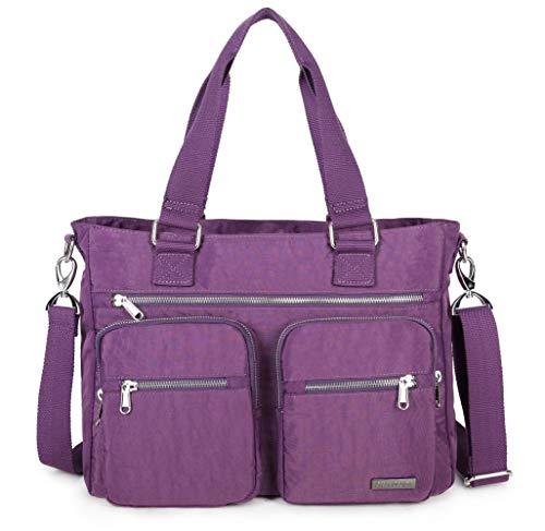 Crest Design Water Repellent Nylon Shoulder Bag Handbag, 14 inch Laptop Bag Notebook Briefcase Travel Work Tote Bag (One Size, Grape)
