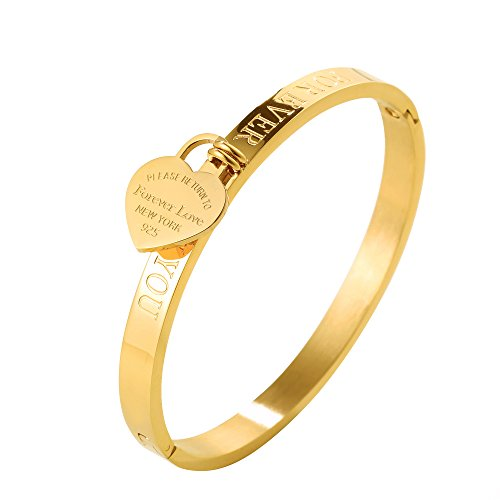 Jewelry Cartier Inspired (JINHUI ❤Forever Love Gift Jewelry 18 K Rose Gold/Gold Bangle Bracelet Heart Pendant Forever Love Letters Engraved Bangle Bracelet for Women Size 6.5'' (Gold))
