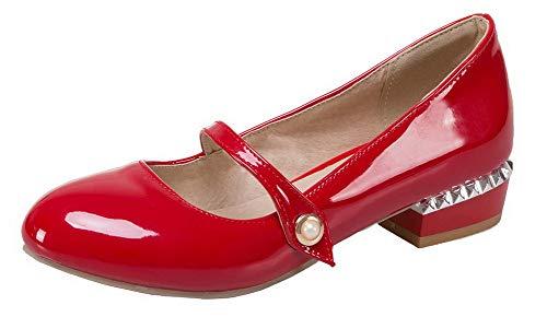 Donna Flats Ballet Basso Pelle di Tirare Tacco Tonda AgooLar Puro GMMDB006817 Punta Maiale Rosso aFxZBw