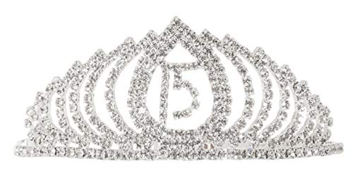 Quinceañera 15th Birthday Crystal Rhinestone Party Tiara Headband Crown (Silver Tone Teardrop)
